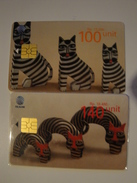 2 Chip Phonecards From Indonesia - Cats - Carving - Indonesia