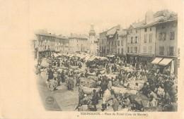 YSSINGEAUX PLACE DE FOIRAIL JOUR DE MARCHE FOIRE AUX BOEUFS VACHES 1900 AUVERGNE - Yssingeaux