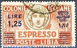 Libia 1926 Espressi N. 17 L. 1,25 Su C. 60 Carminio E Bruno Dent. 14 Usato Cat. € 5 - Libia