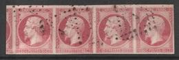 France, Napoléon III, 80c., Rose, Superb Strip Of 4, 1854 , VFU  SCARCE!!!!! - 1853-1860 Napoléon III