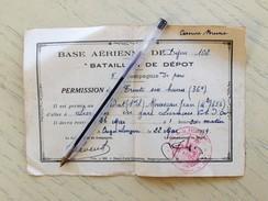 BASE AERIENNE DE DIJON 102.BATAILLON DE DEPOT .PERMISSION DE SORTIE DE 36 HEURES.1934 - Documents Historiques