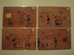4 Chip Phonecards From Indonesia - Cartoon - Indonesia