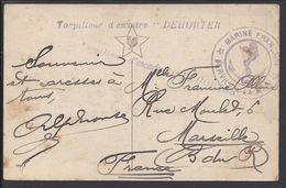 """FR - Torpilleur D'escadre """"Dehorter"""" Service à La Mer - Correspondance Sur CPA Pour Marseille - B/TB - - Postmark Collection (Covers)"""