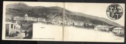 SCHULS SCUOL GR Doppel-Panoramakarte Waschfrau Dorfplatz Dorfstrasse 1906 - GR Grisons