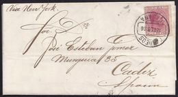1886. 2 CTS. RED ON PRINTED MATTER RATE FROM HABANA TO CADIZ. RR. DELUXE. - Cuba