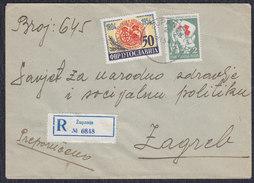 Yugoslavia 1954 Registered Letter With Red Cross Surcharge Stamp Sent From Zupanja To Zagreb - 1945-1992 Sozialistische Föderative Republik Jugoslawien
