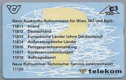 AT.- Telefoonkaart. Telecom Oostenrijk. Austria. Neue Auskunfts-Rufnummern Ausgenommen.  Wien, NO Und Bgld.; 2 Scans - Oostenrijk