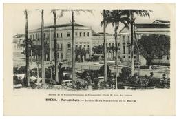 PERNAMBUCO - Jardim 15 De Novembro Ey La Mairie. ( Ed. Missão Brasileira De Propaganda) Carte Postale - Recife