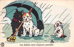 Illustration - Les Faibles Sont Toujours Sacrifiés - Chiens Sous La Pluie - Parapluie - Perros