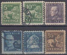 SUECIA 1920/24 Nº 123a,126b,128a,129a,130a,135a USADOS - Sweden