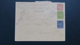 Lettre Tricolore Type Sage Valeur Déclarée 1500 Fr  De Fontaine Le Bourg 1892 Pour Rouen - 1877-1920: Periodo Semi Moderno