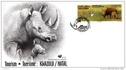 South Africa - 1995 Tourism KwaZulu Natal FDC # SG 866 , Mi 954 - Rhinozerosse