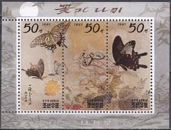 Korea (Nord) 1997 Kunst Kultur Gemälde Tiere Animals Fauna Schmetterlinge Butterflies, Mi. 3895-7 ** - Korea (Nord-)