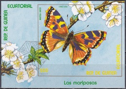 Äquatorial-Guinea Ecuatorial 1976 Tiere Animals Fauna Schmetterlinge Butterflies Insekten Insects Blüten, Bl. 255 CTO - Äquatorial-Guinea