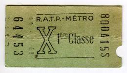TICKET METRO 1ère Classe RATP Poinçonné - Europe