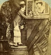 Irlande? Scene De Genre Love On A Tub Le Soupirant Ancienne Photo Stereo 1865 - Stereoscopic
