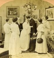 USA Scene De Genre Farewell Mother Adieu Maman Mariage? Ancienne Photo Stereo Kilburn 1897 - Photos Stéréoscopiques