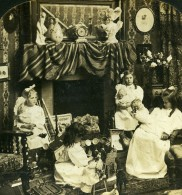 USA Scene De Genre Matin De Noel Les Poupées Ancienne Photo Stereo HC White 1904 - Stereoscopic