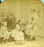 France Scene De Genre Visite A La Chatelaine Scenes Enfantines Ancienne Photo Stereo Block 1870 - Stereoscopic