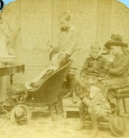France Scene De Genre Chez Le Dentiste Scenes Enfantines Ancienne Photo Stereo Block 1870 - Stereoscopic