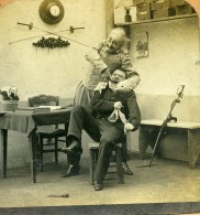 France Scene De Genre Le Dentiste Militaire Ancienne Photo Stereo Block 1900 - Stereoscopic
