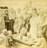 Empire Russe Riviere Volga Little Acorns Creche? Enfants Ancienne Photo Stereo Kilburn 1897 - Stereoscopic