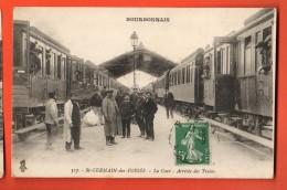 GAM-27  Saint-Germain-des-Fossés  La Gare, Arrivée Des Trains. TRES ANIME. Cachet Frontal En 1919 - Autres Communes
