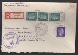 DR Deutsche Dienstpost Ukraine 1943 Proskurow Nach Leipzig K81 - Dienstpost