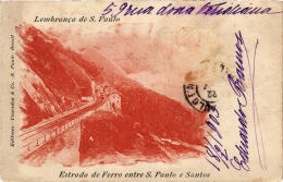 CPA Estrada De Ferro Entre S. PAULO E SANTOS Lembranca De S. PAULO BRAZIL (a4747) - Brasil