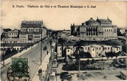 CPA S. PAULO Viaducto Do Cha E Os Theatros Municipal E S. Jose BRAZIL (a4754) - Brasil