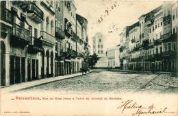 CPA PERNAMBUCO Rue Do Bom Jesus E Torre Do Arcenal De Marinha BRAZIL (a4794) - Brasil