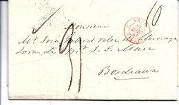 LETTRE-ANCIENNE 1841- MARQUE POSTALE/-LONDON/-CALAIS/-BORDEAUX - Oude Documenten