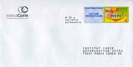 "POSTREPONSE LETPRIO ""Institut Curie"" Avec Timbre ""Merci"" - Au Verso N° 12P355 (format 114 X  211 Mm) - Entiers Postaux"