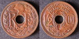 INDOCHINE  1/2 Cent 1938   INDO CHINA    PORT OFFERT - Laos
