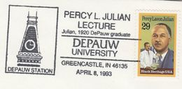 1993 USA COVER EVENT Pmk PERCY LAVON JULIAN LECTURE At DEPAUW UNIVERSITY Chemistry Medicine Stamps - Chemistry
