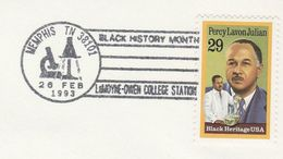 1993 USA COVER EVENT Pmk BLACK HISTORY MONTH CHEMISTRY LaMoyne COLLEGE MEMPHIS  Percy LAVON JULIAN  Medicine Stamps - Chemistry