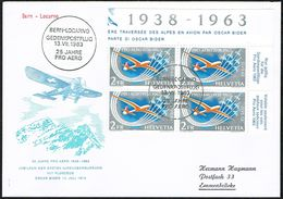 FDC PRO AERO LA SERIE BLOC DE 4 1963 C/DES TIMBRES SUISSES Nr:F46. Y&TELLIER Nr:45. MICHEL Nr:780. - FDC