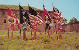 Florida Pensacola Beautiful GIrls With 5 Flags At Fort San Carlo