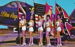 Florida Pensacola Beautiful Girls Holding 5 Flags With Blue Ange