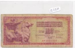 Billets -B2911-Yougoslavie -100 Dinara 1978 (type, Nature, Valeur, état... Voir  Double Scans) - Yugoslavia