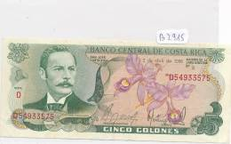 Billets -B2915-Costa Rica-5  Colones (type, Nature, Valeur, état... Voir  Double Scans) - Costa Rica