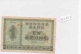 Billets -B2924 -Norvège  -RARE En Krone 1944 (type, Nature, Valeur, état... Voir  Double Scans) - Noorwegen
