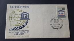 Korea 1966 20th Anniversary Of UNESCO FDC - Korea, South