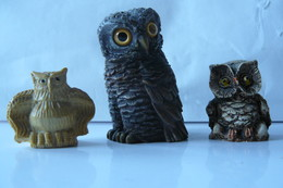 Lot De 3 Chouettes Différentes En Résine - B - - Animals