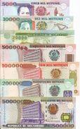 Mozambique 1991-2003. 5000 - 10.000 - 20.000 - 50.000 - 100.000 - 200.000 - 500.000 Meticais UNC - Mozambique