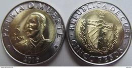 "New! Cuba 5 Pesos 2016 ""Antonio Maceo"" UNC Bimetallic - Cuba"