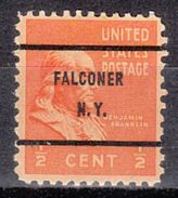 USA Precancel Vorausentwertungen Preo, Bureau New York, Falconer 803-61 - Precancels