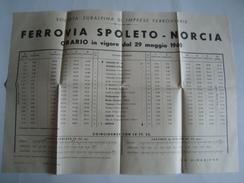 FERROVIA SPOLETTO-NORCIA. ORARIO - ITALIA, ITALY, SOCIETÀ SUBALPINA DI IMPRESE FERROVIARIE, 1960. POSTER. - Railway