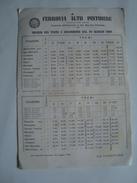 FERROVIA ALTO PISTOIESE. SAN MARCELLO PISTOIESE-PRACCHIA. ORARIO DEI TRENI - ITALIA, ITALY, TOSCANA, 1960. - Railway