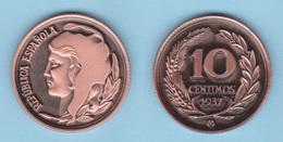 VERY RARE!!! SPAIN / 2º REPUBLIC(1.931-1.939) 10 Céntimos 1.937 Tipo 1-Típico  Aledón 194 PM3 Réplica SC/UNC T-DL-12.163 - 10 Céntimos